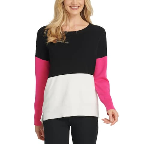 DKNY Womens Crewneck Sweater Colorblock Ribbed Trim - Black