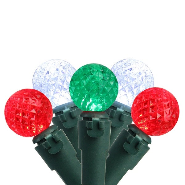 """Set of 50 Red, Pure White & Green LED G12 Berry Christmas Lights 4"""" Spacing - Green Wire"""