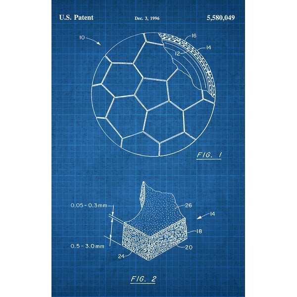 Soccer Ball Patent Poster (White on Blue Graph) - Sports Patents - 24x16 Poster
