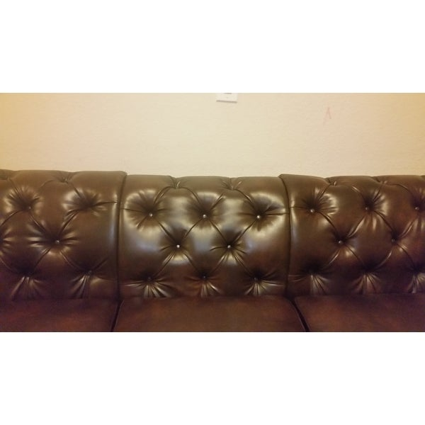 Knightsbridge Bonded Leather Oversize Extra Long Tufted Chesterfield Sofa By Inspire Q On Free Shipping Today