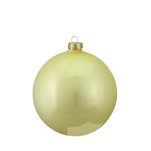 "Shiny Soft Yellow Glass Ball Christmas Ornament 6"" (150mm)"