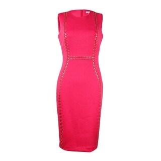 Calvin Klein Women's Studded Scuba Sheath Dress - Watermelon