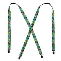Buckle Down Women's Elastic Decorated Christmas Tree Holiday Suspenders