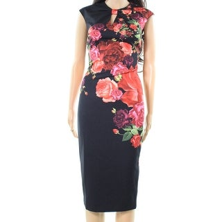 Ted Baker NEW Black Women Size 0 Juxtapose Rose Print Midi Sheath Dress
