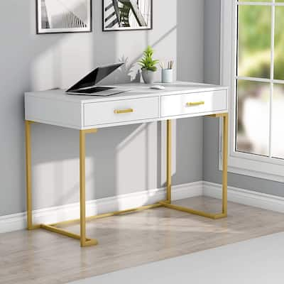 Computer Desk, ModernStudy Writing Table with 2 Drawers