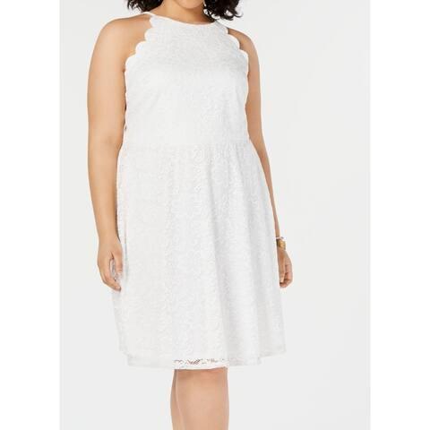 BCX Women's Dress Soft White Size 2X Plus A-Line Lace Scallop Trim