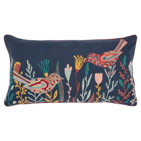 "Rizzy Home Blue Birds 14""X 26"" Decorative Pillow"