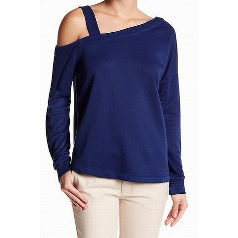 Harlowe & Graham Blue Womens Large L One-Shoulder Pullover Sweater