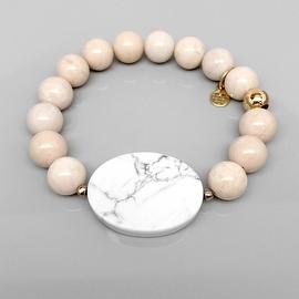 Ivory River Stone 'Eye Candy' stretch bracelet 14k over Sterling Silver
