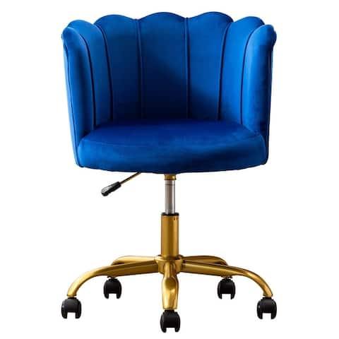 Velvet Lotus Vanity Chair with Golden Metal Legs