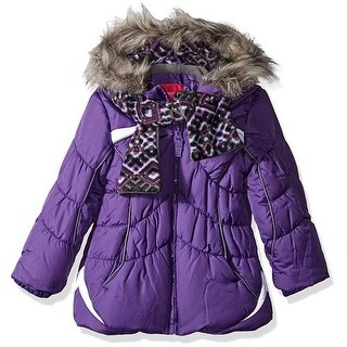 London Fog Girls 4-6X Scarf Bubble Jacket