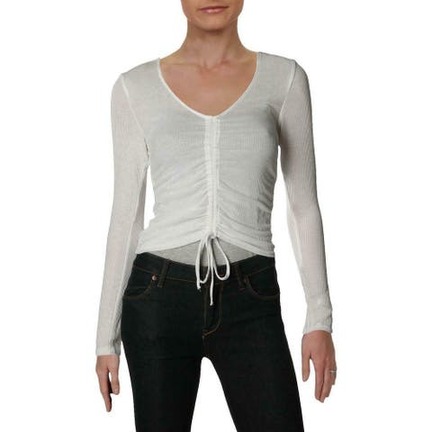 Ultra Flirt Women's Top Ribbed Drawstring White Size Small S Knit Ruched