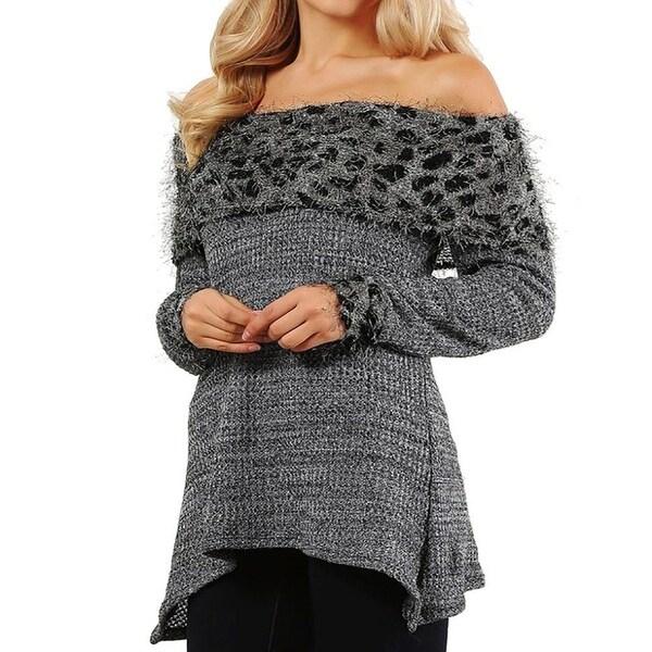 Funfash Plus Size Women Gray Leopard Long Sleeves Sweater Blouse Top