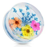 Blue Dried Flower Clear Acrylic Saddle Fit Plug (Sold Individually)