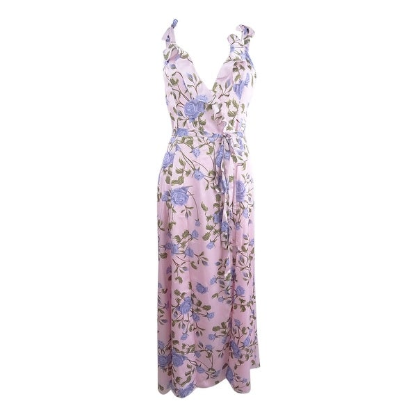 Shop Fame and Partners Women s Floral-Print Wrap Maxi Dress (4 ... aeb9748c4ccc