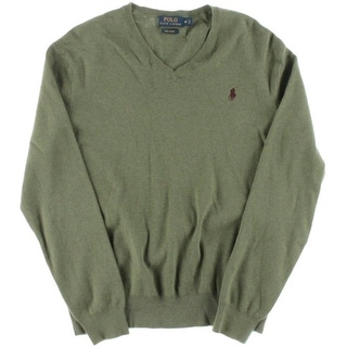 Polo Ralph Lauren Mens Pima Cotton Ribbed Knit V-Neck Sweater