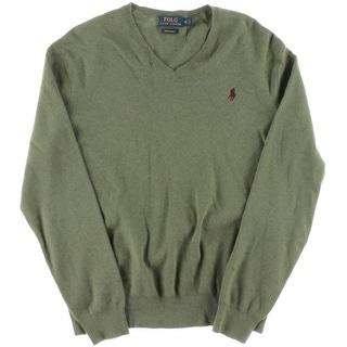 Polo Ralph Lauren Mens Pima Cotton Ribbed Knit V-Neck Sweater