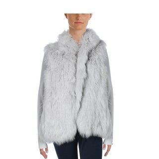 Theory Womens Hanalee L Fur Open Front Casual Vest