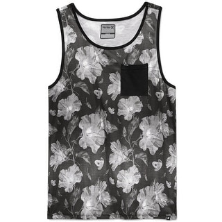 Hurley NEW Gray Mens Size Large L Floral Knit Muscle Pocket Tank Shirt