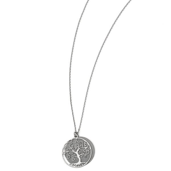 Italian Sterling Silver Ruthenium-plated Tree with 2in ext. Necklace - 16 inches
