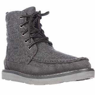 TOMS Searcher Quilted Lace Up Ankle Boots, Grey Wool
