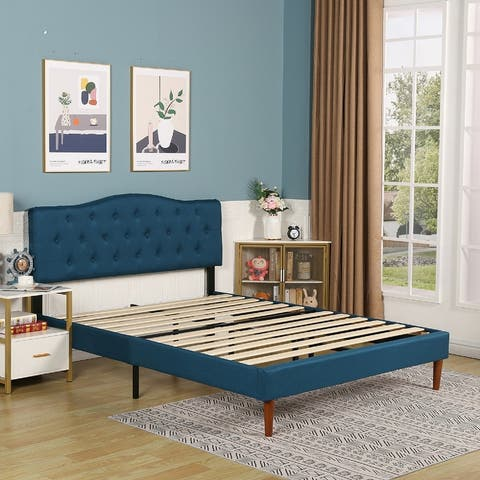 VECELO Upholstered Bed Frame with Tufted Headboard Twin/Full/Queen
