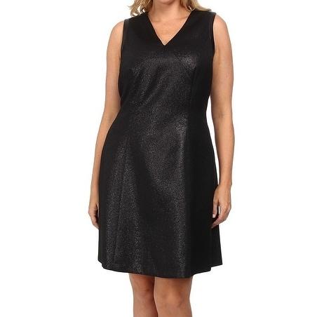 Dknyc New Black Womens Size 24w Plus Ponte Sheath Flare Dress