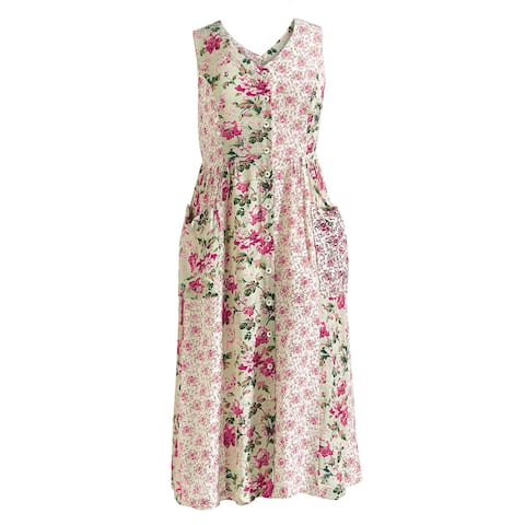 db1cc02179b April Cornell Women s Summer Roses Dress - Sleeveless V-Neck Mixed Floral  Prints