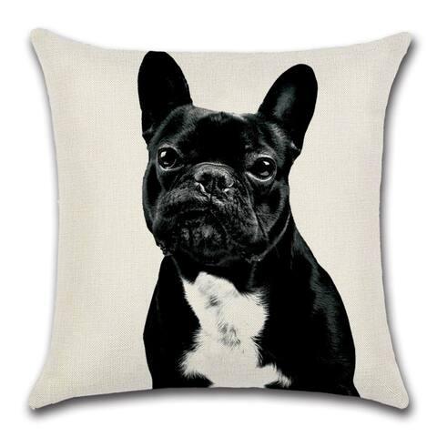 "Cute Black French Bulldog Decorative Throw Pillow Cover 18"" x 18"""