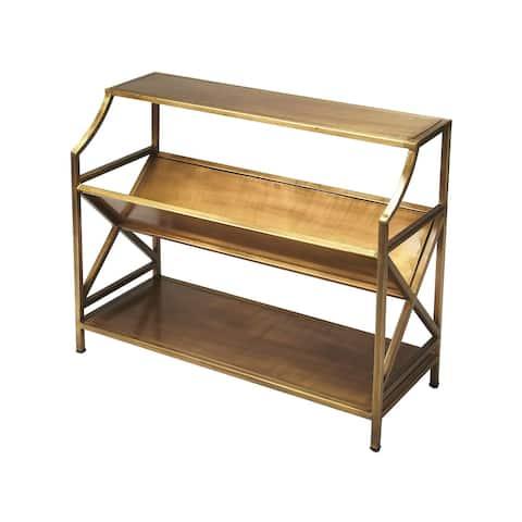 "Modern Industrial ChicIron Rectangular Librarie Bookcase - AntiqueGold - 36""W x 14.5""D x 32""H"
