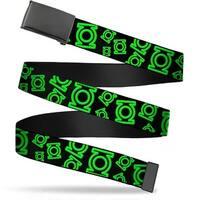 "Blank Black 1.25"" Buckle Electric Green Lantern Logo Scattered Black Green Web Belt 1.25"" Wide - M"