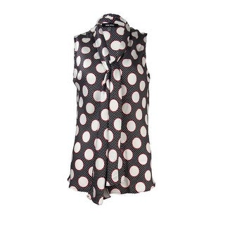 Nine West Women's Polka Dot V-Neck Satin Top - xs