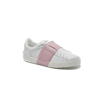 Valentino Women's Laceless Leather Sneakers With Patent Pink Band Size 38 / 8