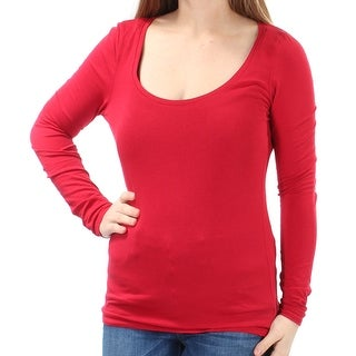 Womens Red Long Sleeve Scoop Neck Top Size M