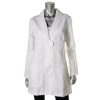 Med Couture Womens Jacquard Notch Collar Lab Coat - M