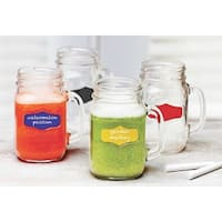 Palais Glassware Mason Jar Tumbler Mug with Handle, 17.5 Ounces, Set of 4, Clear with Colored Chalkboard and Chalk