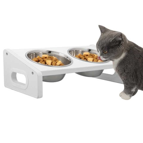 Stainless Steel Double Bowl Non Slip Small Twin Pet Cat Dog Bowl with 20 Degree Tilt Design