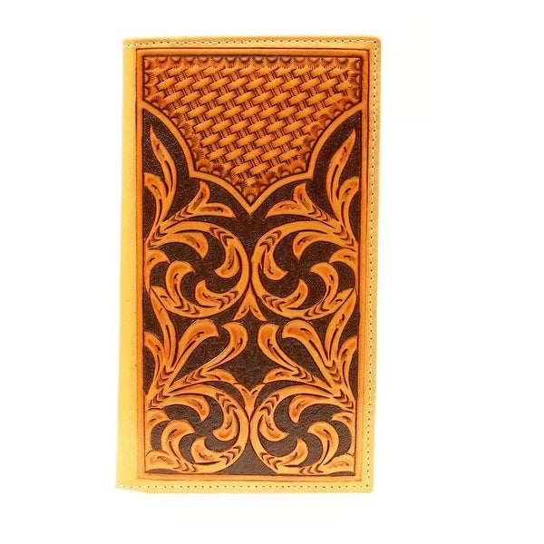 Nocona Western Wallet Mens Leather Rodeo Floral Tooled Brown - One size