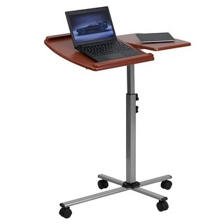 Offex Angle and Height Adjustable Mobile Laptop Computer Table with Cherry Top [OF-NAN-JN-2762-GG]