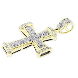 10K Yellow Gold Diamond Cross Pendant 0.3ctw 36mm Tall Pave Set(i2-i3 clarity) By MidwestJewellery - White