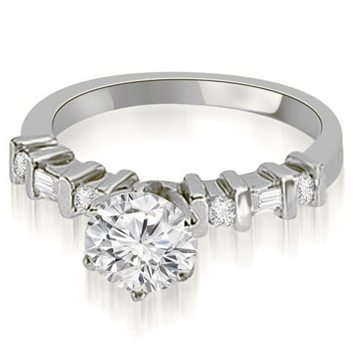 0.95 cttw. 14K White Gold Round and Baguette Diamond Engagement Ring