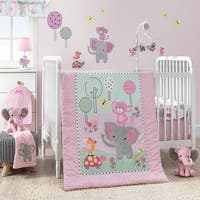 Bedtime Originals Twinkle Toes Pink/Blue/Green Elephant & Monkey 3-Piece Nursery Crib Bedding Set