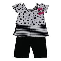 American Character Baby Girls Black White Dot Stripe 2Pc Capri Set 12-24M