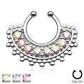 Large Paved Gem Fan Non-Piercing Septum Hanger (Sold Individually) - Thumbnail 0