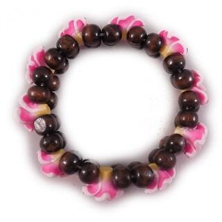Charming Shark Womens Flower Bead Bracelet Elastic Pink