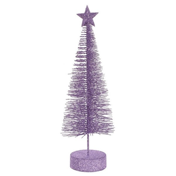 Pack of 2 Lavender Purple Glitter Sisal Artificial Table Top Christmas Trees 12""