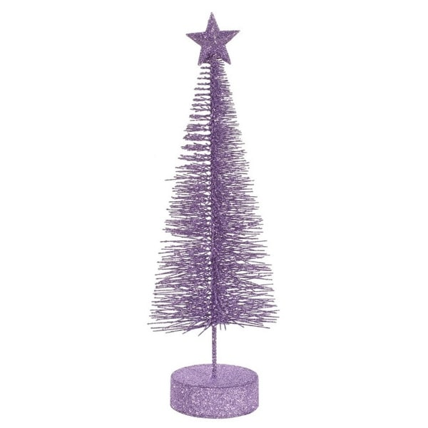 Pack of 2 Lavender Purple Glitter Sisal Artificial Table Top Christmas Trees 8""