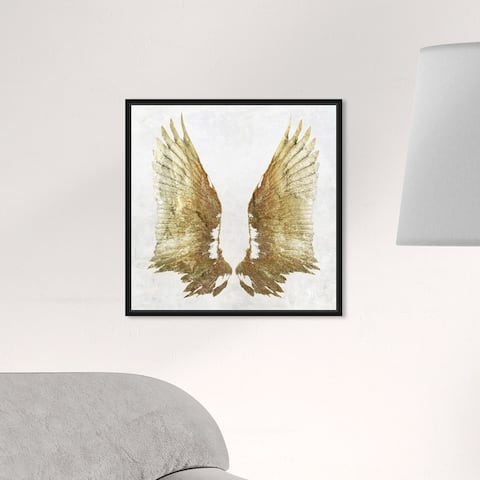 Oliver Gal 'Golden Wings Light' Fashion and Glam Wall Art Framed Canvas Print Wings - Gold, White