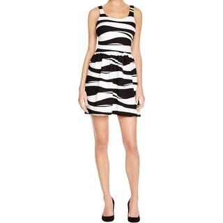 Aqua Womens Casual Dress Textured Wavy Stripe