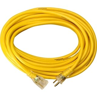 """""""Woods 2887 Woods 14/3 50'SJTW Extension Cord W/Lighted End - 125 V AC Voltage Rating - 15 A Current Rating - Yellow"""""""